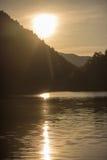 Заход солнца на пруде часовни Стоковое Фото