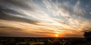 Заход солнца над пустыней Kalahari в Намибии Стоковое Изображение