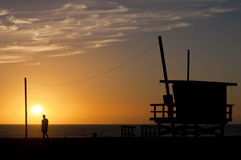 Заход солнца на пляже Венеции, ЛА Стоковая Фотография RF