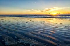 Заход солнца на пляже карамболя Стоковые Фотографии RF