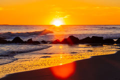 Заход солнца на пляже, Лонг-Бич Нью-Йорк США стоковое фото