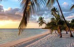 Заход солнца на пляже на Багамских островах Стоковые Фото