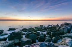 Заход солнца на пляже острова Phu Quoc Стоковые Фотографии RF