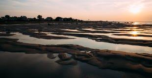 Заход солнца на пляже трески накидки Стоковые Изображения RF