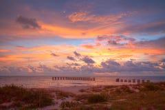 Заход солнца на пляже Флориде Boca большом Стоковые Изображения RF