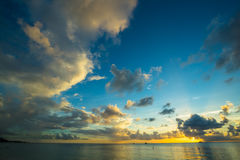 Заход солнца на пляже Стоковое фото RF