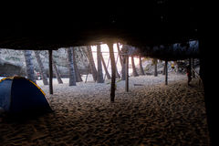 Заход солнца на пляже стоковые изображения rf