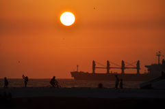 Заход солнца на пляже Balneario Стоковая Фотография RF
