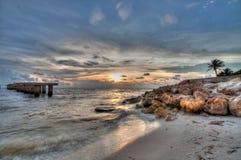 Заход солнца на пляже Boca большом, Флориде Стоковое Фото
