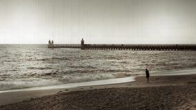 Заход солнца на пляже Capbreton, античный тип Стоковые Фотографии RF
