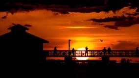 Заход солнца на пляже Fort Myers Стоковое фото RF