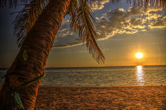Заход солнца на пляже Ifaty, Мадагаскаре стоковая фотография rf