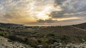 Заход солнца на пляже Kalamaki акции видеоматериалы
