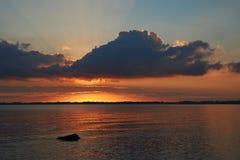Заход солнца на пляже Knud Стоковая Фотография RF