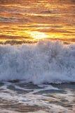 Заход солнца на пляже Mai Khao в Пхукете Стоковая Фотография RF