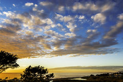 Заход солнца на пляже Moonstone Стоковое Изображение