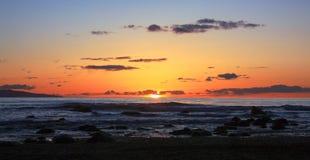 Заход солнца на пляже Sombrio, острове ванкувер Стоковое фото RF