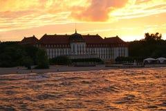 Заход солнца на пляже Sopot стоковые изображения rf