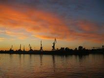 Заход солнца на Реке Волга, России Стоковое Изображение