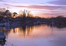 Заход солнца на реке Эвоне Крайстчёрче Стоковое Изображение