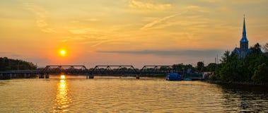 Заход солнца на реке Стоковое фото RF