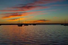 Заход солнца на реке Стоковые Фото
