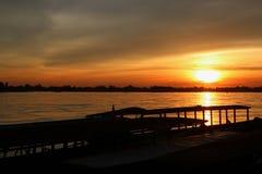Заход солнца на реке Khong Стоковая Фотография RF