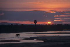Заход солнца на реке Rufji Стоковые Изображения RF