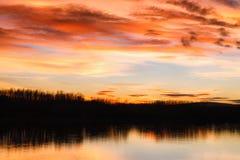 Заход солнца над рекой Дунаем Стоковые Изображения RF