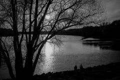 Заход солнца над рекой Дуна Стоковое Изображение