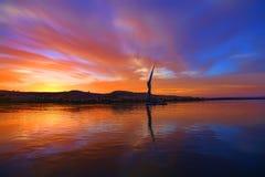 Заход солнца над рекой Нилом Стоковые Изображения