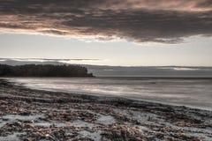 Заход солнца над Рекой Святого Лаврентия Стоковые Изображения RF