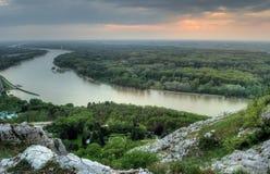 Заход солнца над рекой Стоковое Изображение