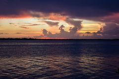 Заход солнца над рекой Myakka Стоковое Фото