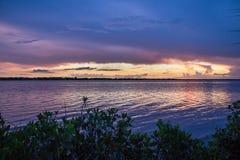 Заход солнца над рекой Myakka Стоковая Фотография