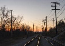Заход солнца на рельсах Стоковые Изображения