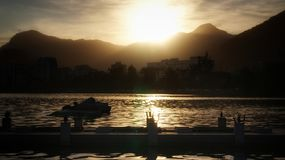 Заход солнца на Рио-де-Жанейро Стоковые Изображения
