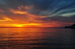 Заход солнца на свободном полете Стоковая Фотография RF