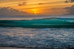 Заход солнца на Сейшельских островах Стоковые Изображения