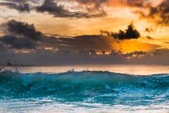 Заход солнца на Сейшельских островах Стоковое Изображение