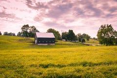 Заход солнца на сельской местности Стоковые Изображения RF
