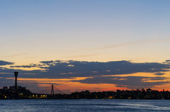 Заход солнца на Сиднее, Австралии. Стоковое Фото