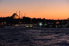 Заход солнца над Стамбулом Стоковая Фотография RF