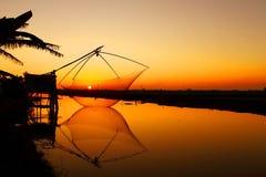 Заход солнца над стороной страны Стоковые Фото