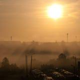 Заход солнца над городом Стоковые Фотографии RF
