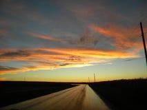 Заход солнца на стране Road_044 Стоковые Изображения RF