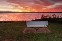 Заход солнца над тазом St Georges, NSW Австралией Стоковое Изображение