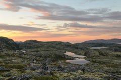 Заход солнца на тундре в лете Стоковые Фотографии RF