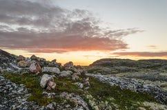 Заход солнца на тундре в лете Стоковые Изображения