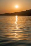 Заход солнца на уровне моря Стоковые Изображения RF